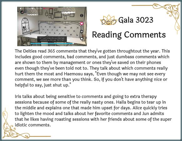Dei5 Gala 3023 | Reading Comments Summary