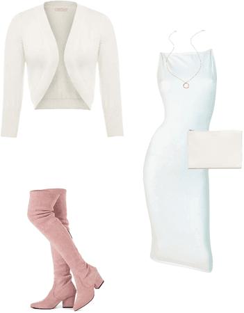 White dress OTK boots