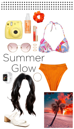 Sunset holiday beach swimming outfit ♡