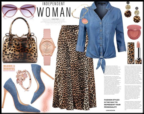Blushy  Denim and leopard print