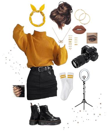 yellow knit photoshoot