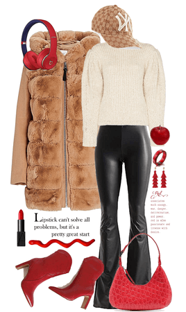 Teddy Coat With a Splash of Red