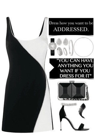 black & white dress with dimensions