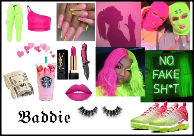 Neon baddie/ orange/pink