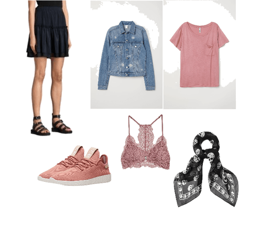 Casual pink/navy work outfit