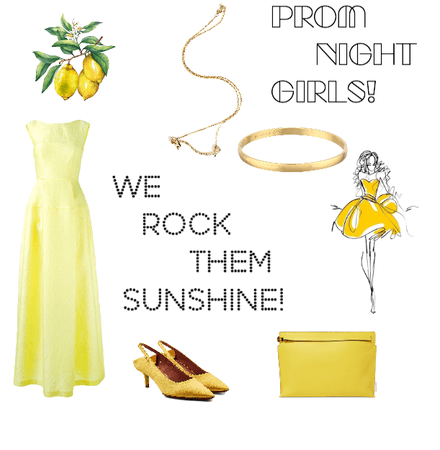 Yellow themed Prom night outfit