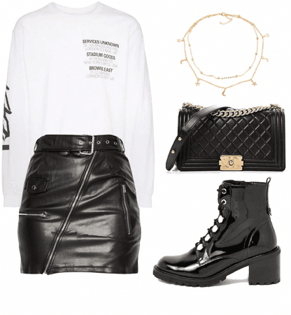 casual outfit with leather skirt & boots