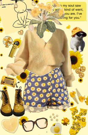 Happy Yellow Flower Girl