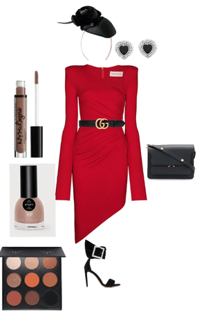 red asymmetrical dress outfit