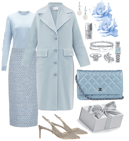baby blue and silver