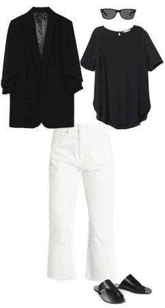 White denim and sandals