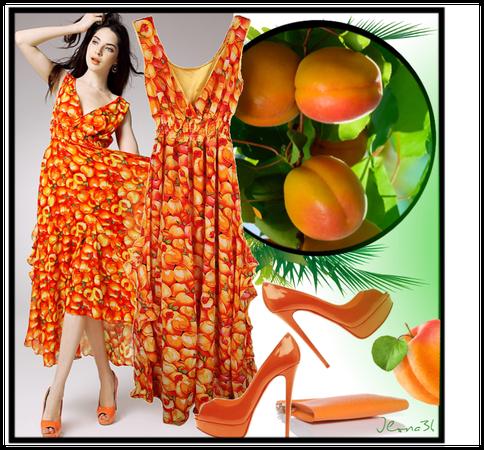 Red V Neck Fruit Print Chiffon Dress