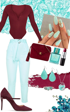 Teal and Maroon