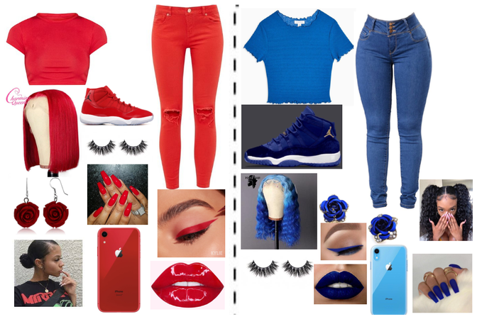 red and blue out fit