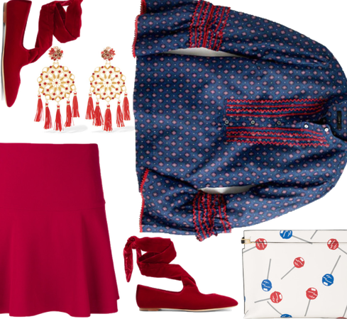 Bell-Sleeve Top & Red Skirt