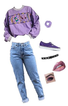 purple 90s look