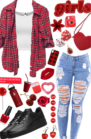 Red Love ❤️💋🌹   Flannel Challenge