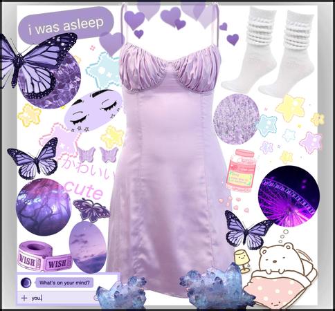 Purple Aesthetic Sleepwear Fit 😪💋🎀💜