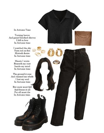 dark academia monochrome black outfit