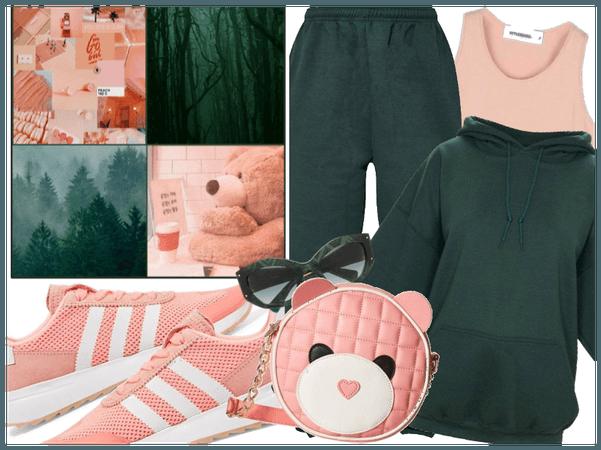 Peach Pink + Pine Green