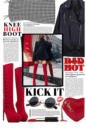 KNEE HIGH BOOTS: Red Hot