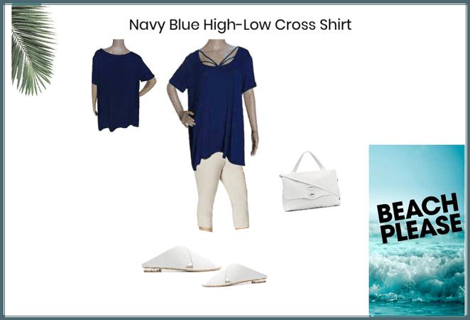 Navy Blue High-Low Cross Shirt
