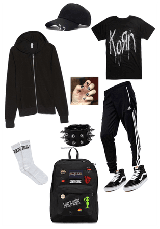 Emo gothic Korn school outfit