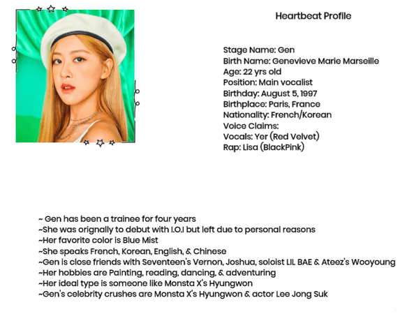 Heartbeat's Main vocalist Gen Profile