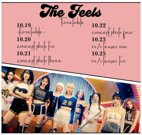 'The Feels' Timetable