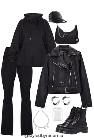 all black casual streetwear
