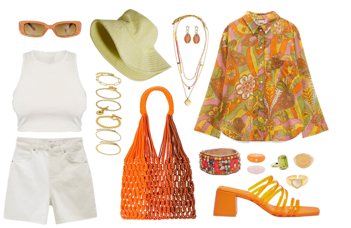 orange summer look