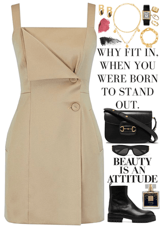 classic short dress, black bag & boots, gold jewelry