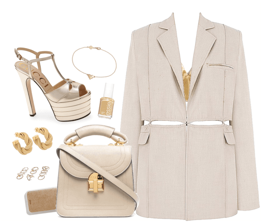 A Gold And Beige Look
