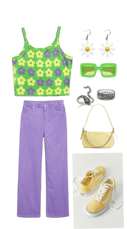 purple/green/yellow outfit