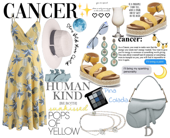 Pineapple Cancer Look (Blue-gray & Yellow)