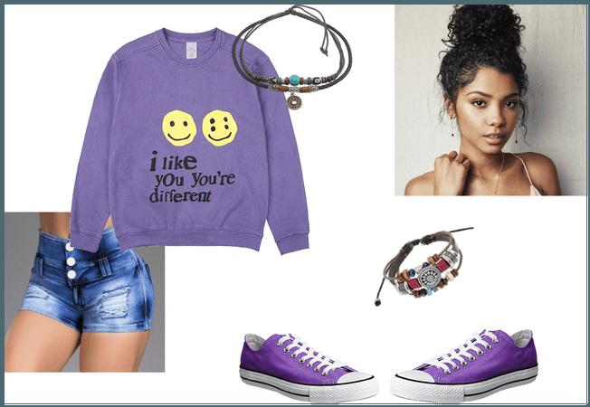 Sweatshirt, Sneakers, Denim Shorts, Messy Bun