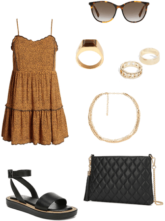 speckled dress with black