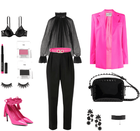 neon pink and black Valentino