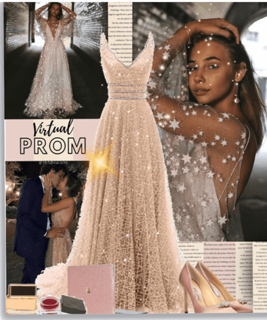 Virtual Prom In gold and pink