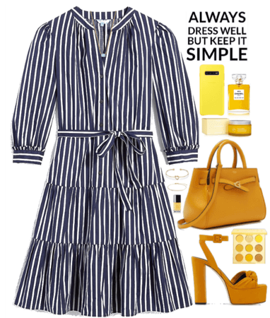 Yellow Mood with a navy dress