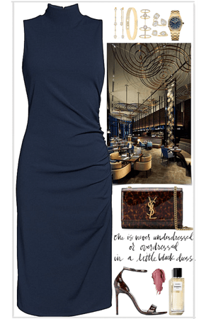 long,dark blue dress with expensive jewelry look