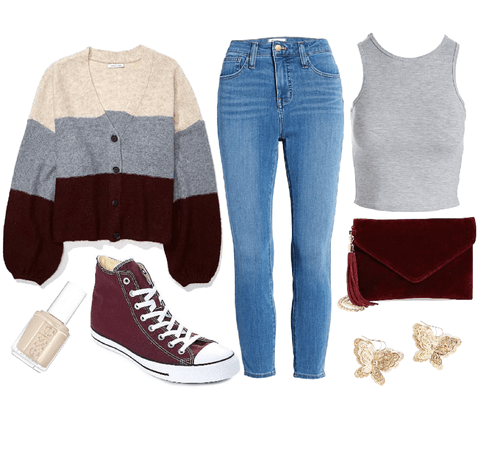 casual gray and maroon