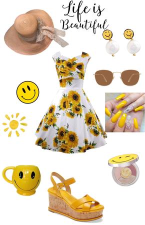 Happy yellow summer girl smile