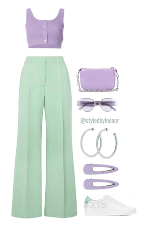 Pastel SoftGirl Mint Green & Lavender/Purple Look