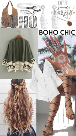 Green and White Boho Outfit