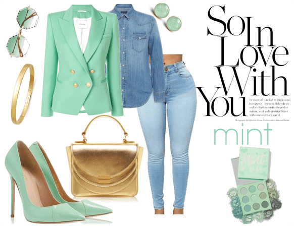 Denim and gold in love With mint