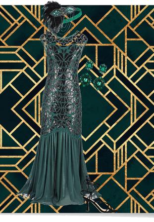 Roaring 20s Green Art Deco