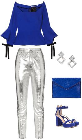 Outfit pantalón metalizado plata