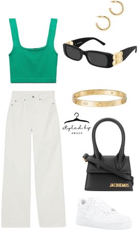 green crop top and khaki pants