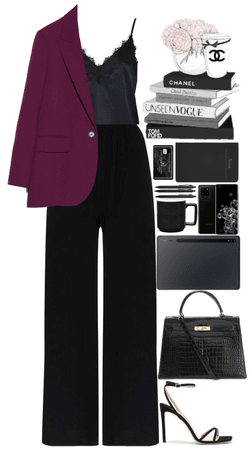 Black with a pop of color, office style